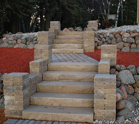 rock stairs, example of A+ Contractor's landscaping work